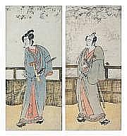 KATSUKAWA SHUNKÔ (1743-1812) DEUX HOSOBAN TATE-E