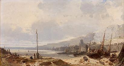 Eugène DESHAYES (1828-1890) Marée basse Huile sur