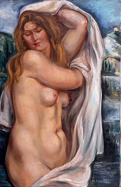 André FAVORY (1889-1937) Baigneuse au drap blanc
