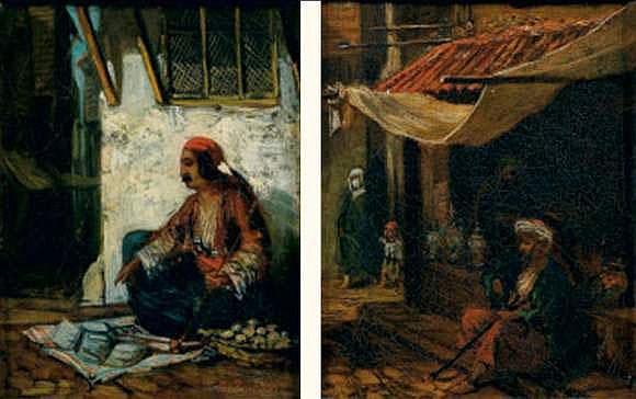 Hippolyte PRADELLES (né en 1824) - Au souk et Rue