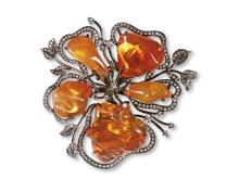 Mexican opal stone pendant diamond brooch dual purpose
