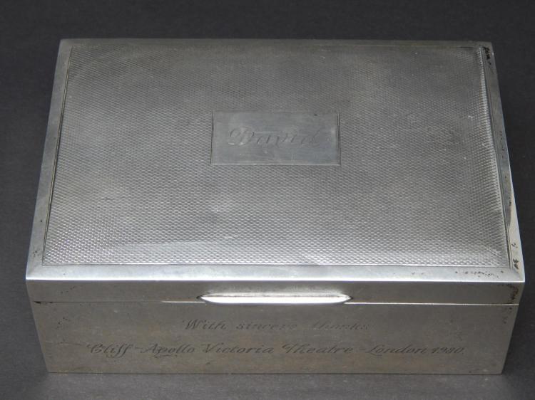 CLIFF RICHARD Silver Cigarette Box Birmingham 1977