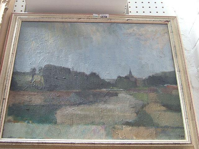 Bernard Myers (b.1925), Alfriston, Sussex, oil on