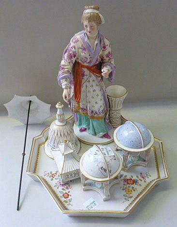 A Berlin figural desk set, late 19th century, blue