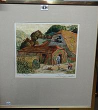 Simon Palmer (b.1956), The Old Farm, watercolour and red ink, signed and in