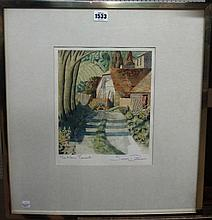 Simon Palmer (b.1956), The New Tenants, watercolour and red ink, signed and