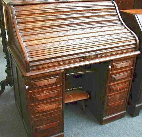 An Oak Roll Top Desk By Cutler Desk Co Buffalo NY USA, The Ogee Tambour