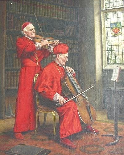 Alfred Lyndon Grace, A clerical recital, signed, oil on canvas. Illustrated