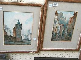 English School, 19th Century, Continental town scenes, a pair, watercolour, each 23x15cm together with an oil landscape signed Paula Thrift (3).