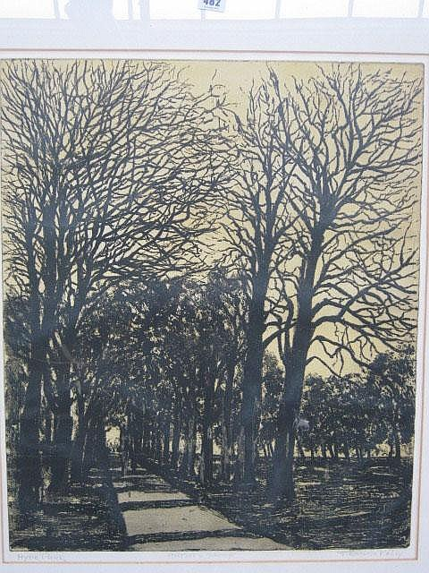 Francis Kelly (20th century), Hyde Park, etching,