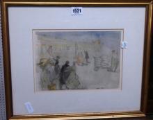 Arthur Hacker (1858-1919), Leaving Paris by night, pen, ink and watercolour