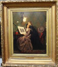 Pieter-Willem Sebes (1830-1906), Admiring the folio, oil on panel, signed,