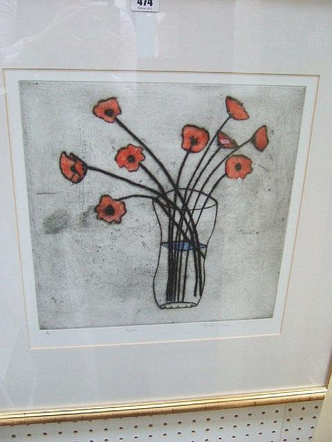 Richard Spare (b. 1951), Poppies, Colour etching,