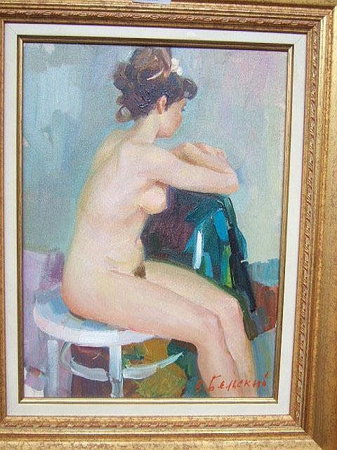 Vladimir Belsky (20th century), Seated nude, oil