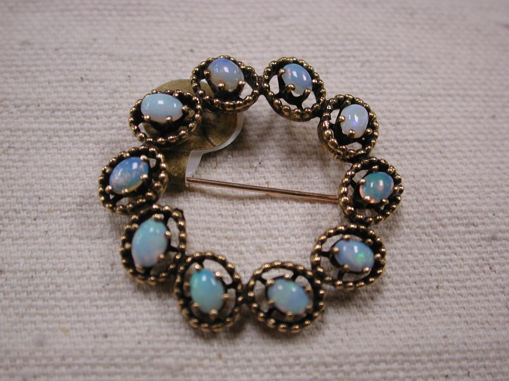 d4618cb1db1 Fire Opal round pin brooch 34mm 10 carats oval opals 14KT yellow