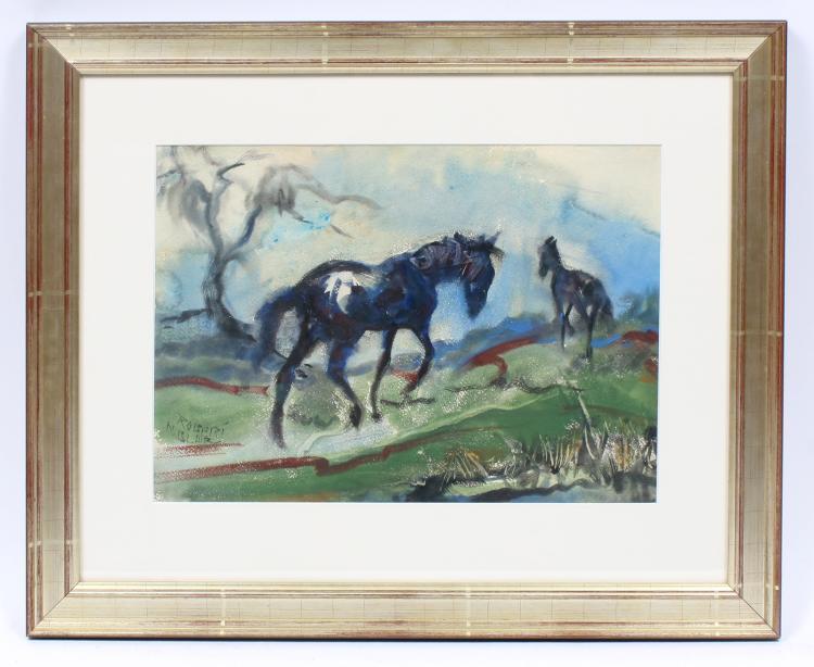 Modernist Horses the Rain