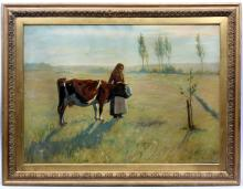 Antique Italian Landscape with Cow