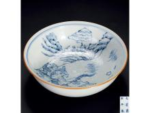 "Blue warrior figure shallow bowl ""Qing Emperor Kangxi years' models"