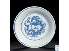 "Mission blue dragon dish ""Da Ming Chenghua years' models"
