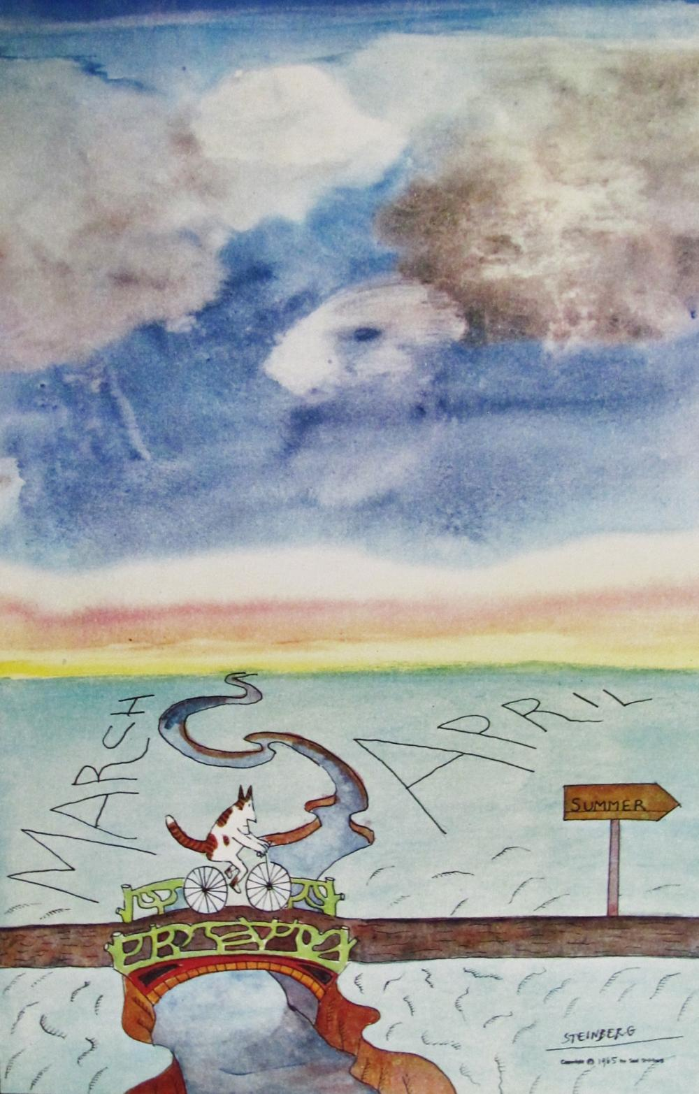 SAUL STEINBERG - SUMMER IS COMING- ORIGINAL LITHOGRAPH - 1977
