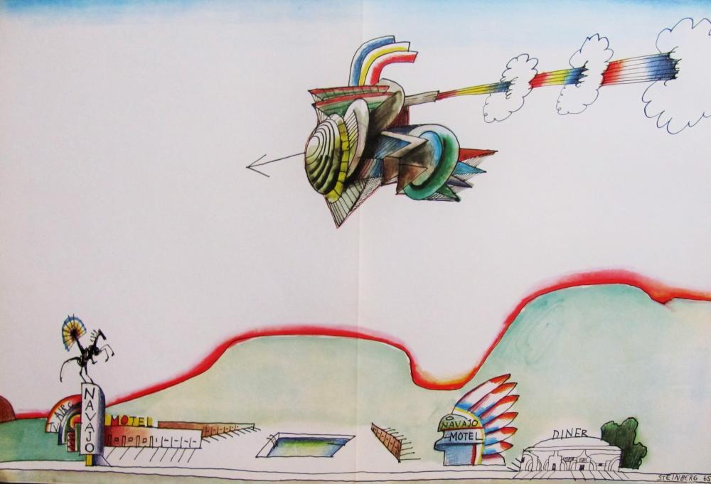 SAUL STEINBERG - INDIAN COMET - ORIGINAL LITHOGRAPH - 1966