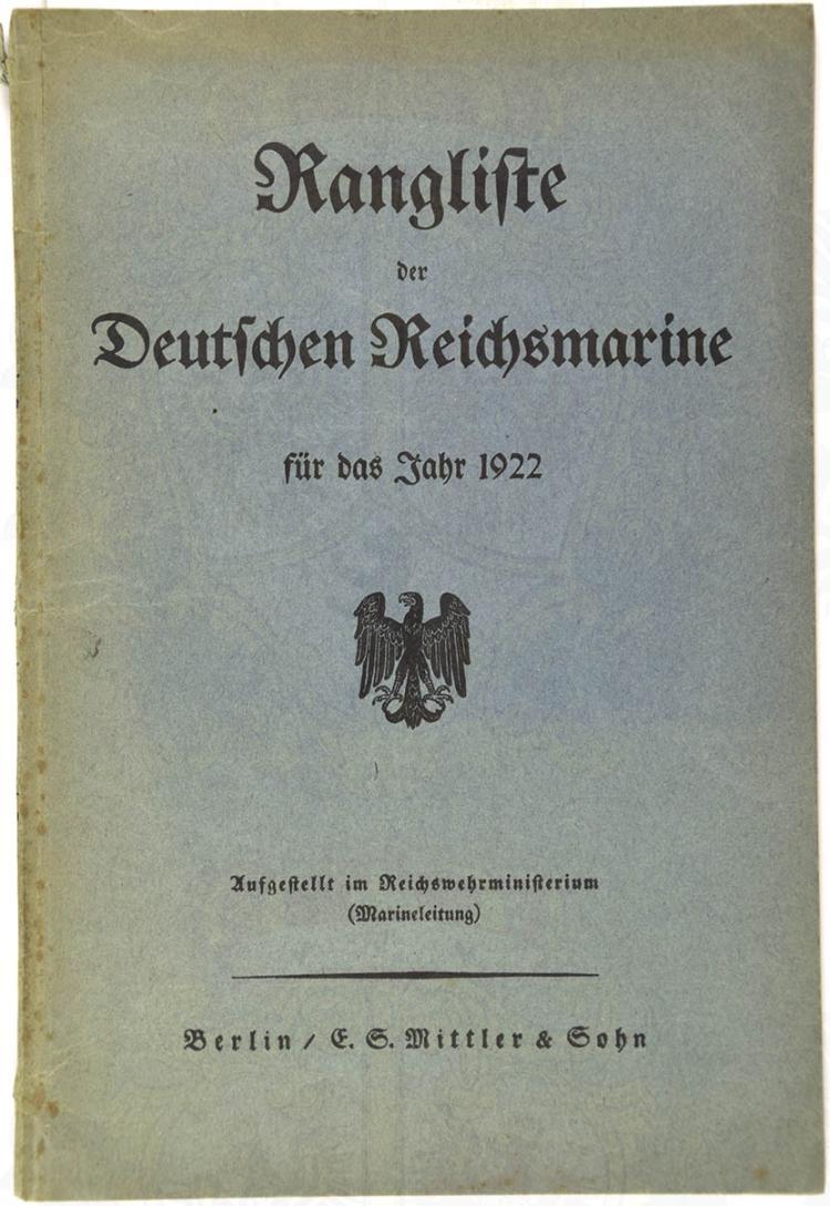 RANGLISTE DER DEUTSCHEN REICHSMARINE