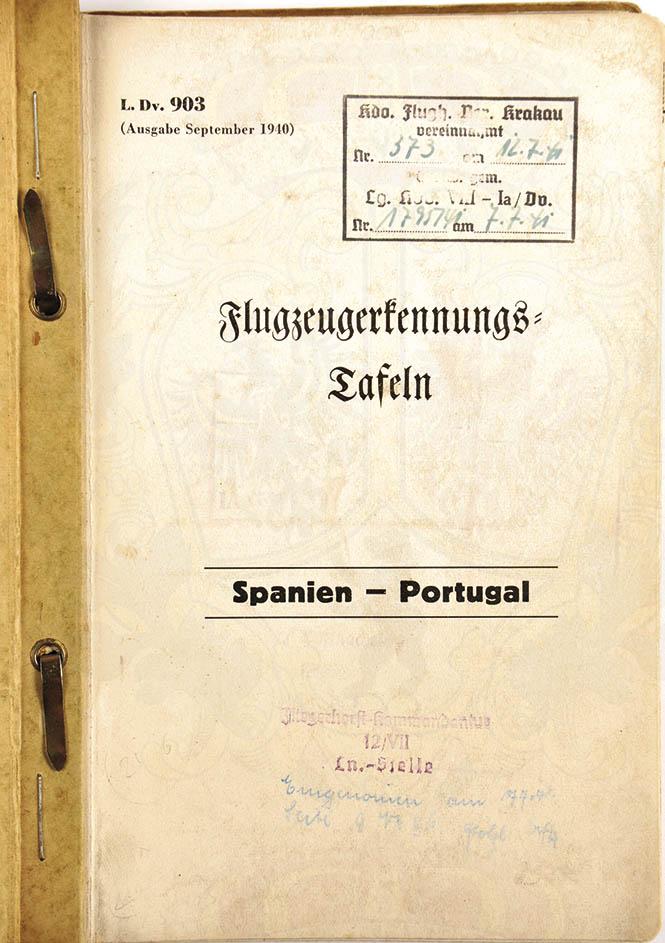 LDV 903 FLUGZEUGERKENNUNGS-TAFELN SPANIEN-PORTUGAL