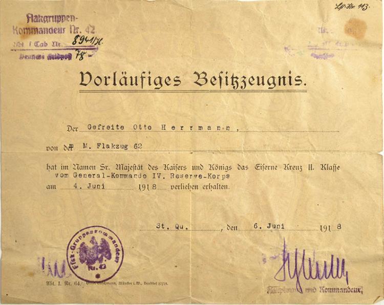 VORLÄUFIGES BESITZZEUGNIS ZUM Iron Cross second class 1914