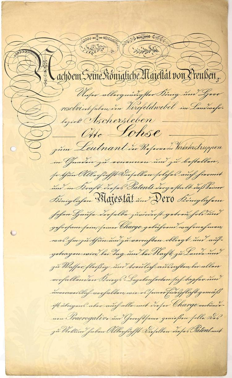 URKUNDENGRUPPE EINES HAUPTMANN D. L.