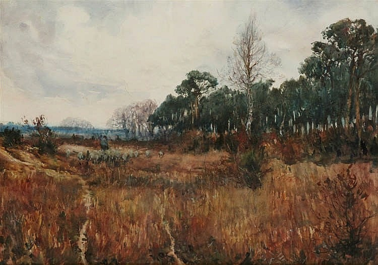 CHARLES CELESTIN JACQUET (?-1921) - Fall landscape. Watercolour. Framed.