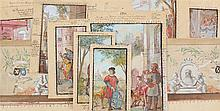 JEAN-BAPTISTE HUYSMANS (1826 - 1906) - A set of 12 drawings and preliminary sketches for a hall in the Townhall of Mortsel. Gouache, watercolour and pencil. - We join by the same one other sheet. Different sizes.