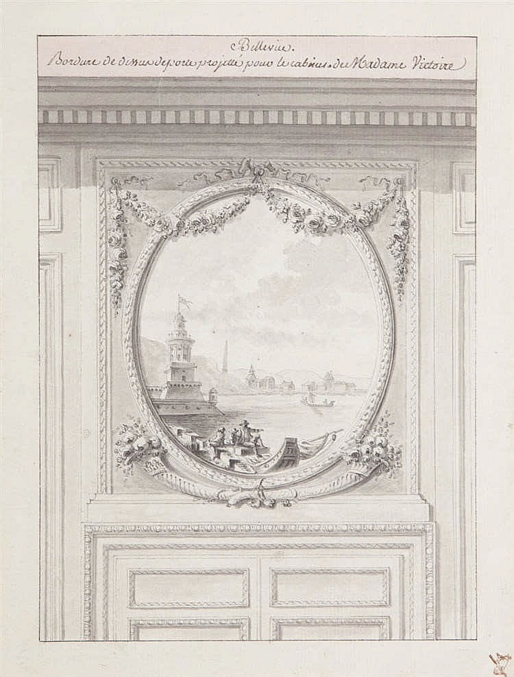 RICHARD MIQUE (1728-1794) - circle - Chinese ink, grey and pink wash. Two different collector's marks. Mounted.