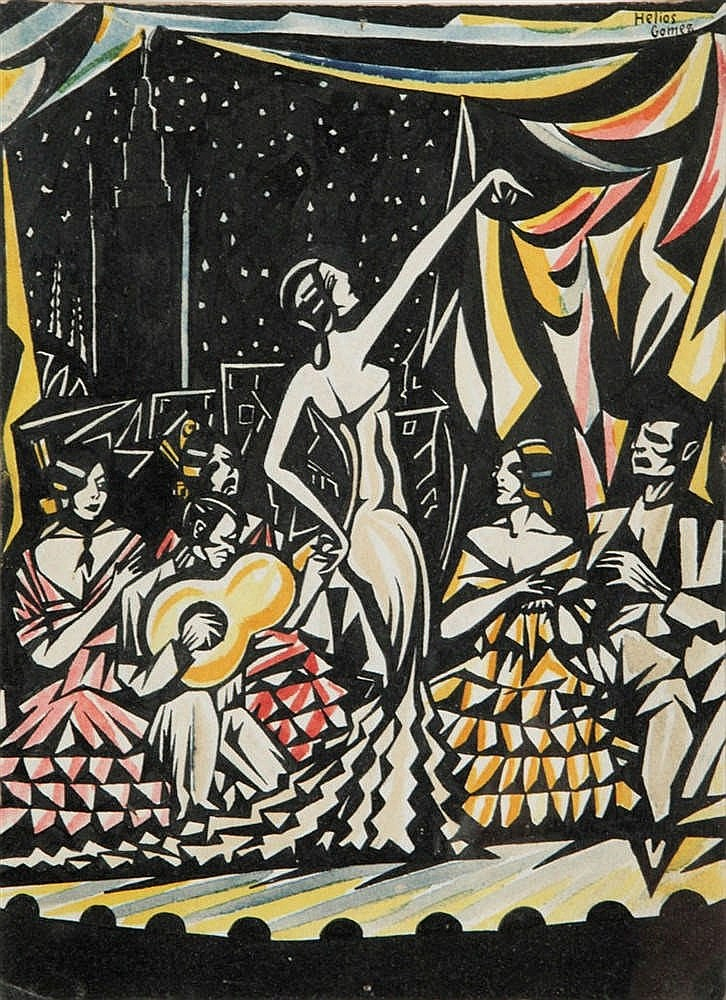 HELIOS GOMEZ (1907-?)  Flamenco dancers. Ink and watercolour. Signed. Framed.