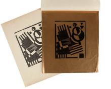 KAREL MAES (1900-1974) Zonder titel. Linosnede op goudpapier. Gemonogrammeerd in het blok