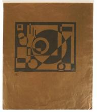 KAREL MAES (1900-1974) Zonder titel (1921). Linosnede op goudpapier. Gemonogrammeerd en g