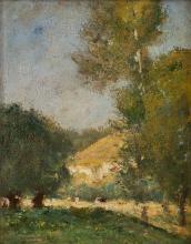 GASTON GUIGNARD (1848-1922) Heuvelachtig, bebost landschap m