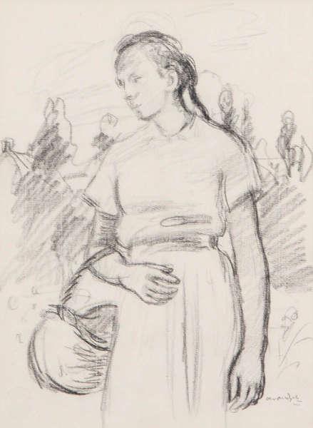 ALBERT VAN DIJCK (1902-1951)        Vrouw met mand. Potloodtekening. Getekend 'Alber