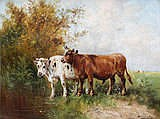 PAUL SCHOUTEN (1860 - 1922) Cows in the meadow