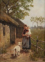 HEIN KEVER (1854 - 1922) Goatherd with child near