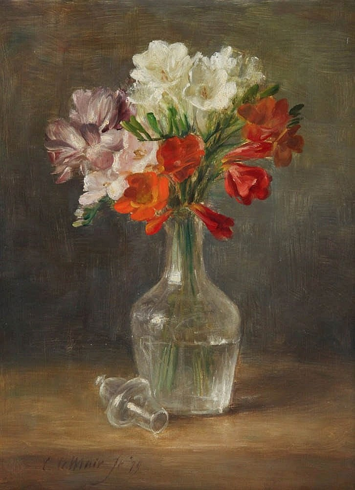 CORNELIS LEMAIR (°1944)    Still life with flowers. Plywood. Signed and dated 'C.Lemair F(eci)t (19)79'.