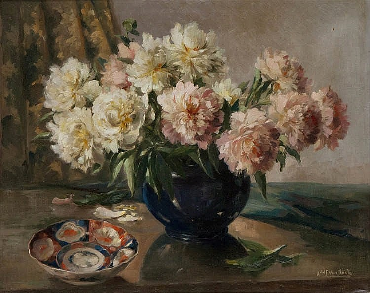 ADOLF VAN NESTE (1880-1959)     Still life with flowers and Imari dish. Canvas.Signed 'Adolf Van Neste'.