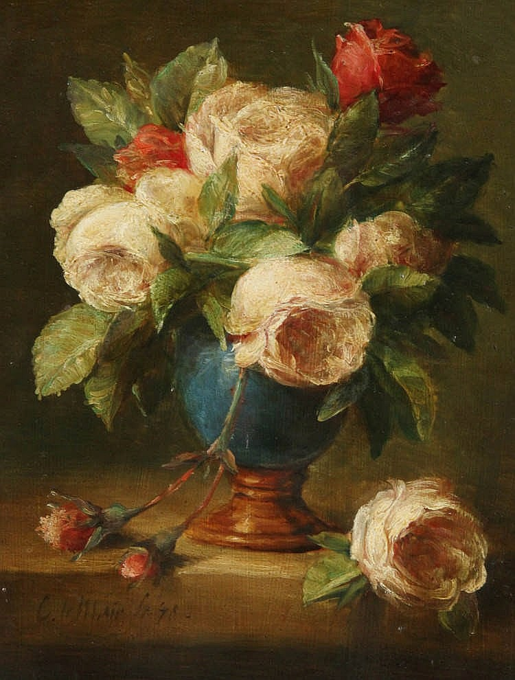 CORNELIS LEMAIR (°1944)    Still life with roses. Plywood. Signed and dated 'C.Lemair f(eci)t (19)78'.