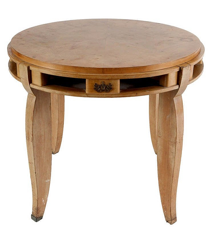 Jules Leleu 1883 1961 Round Coffee Table Cherry Wood Wor