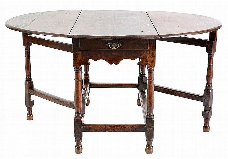 Gateleg oak two drawers in the rail spindled legs joined - Gateleg table with drawers ...