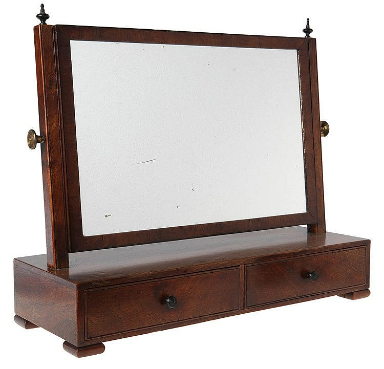 Table mirror. Walnut. Two drawers. Ebonised finials and handles. Copper knobs. English work. Second half of the 19th century.