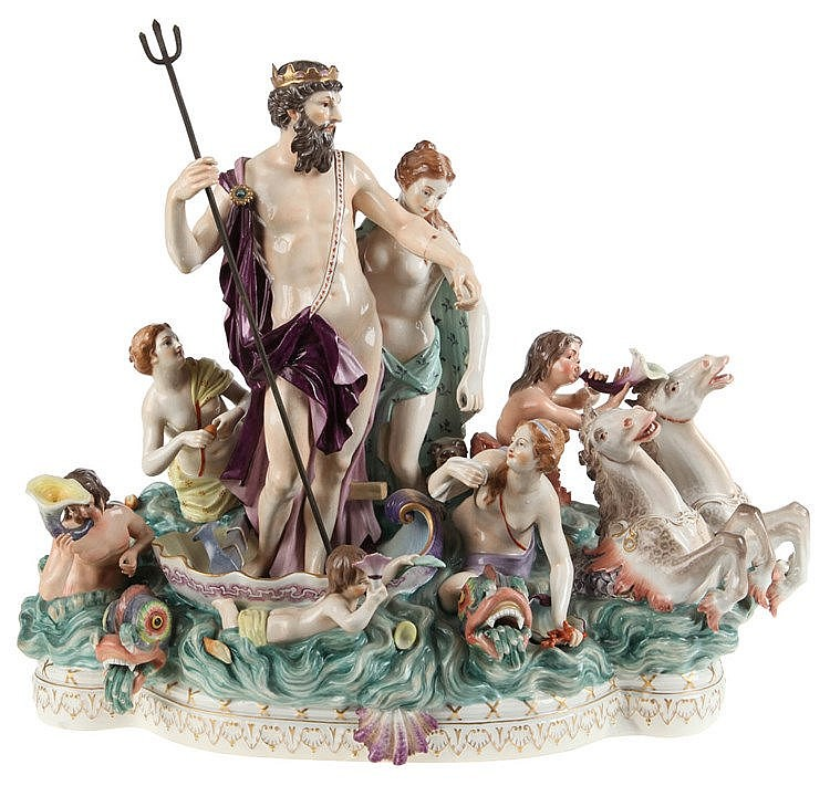 A porcelain figure group with Neptune and Thetis, late 19th/20th century, after the Meissen model by J.J.Kändler.