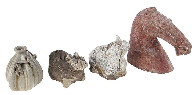 Set of various objects in ceramic comprising a Tang style horse, ox and swine and a small grey-beige glazed earthenware vase applied with a branch. Chinese work.