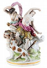 A Samson porcelain mythological group with Venus and Adonis. Marked on the reverse. Restorations.