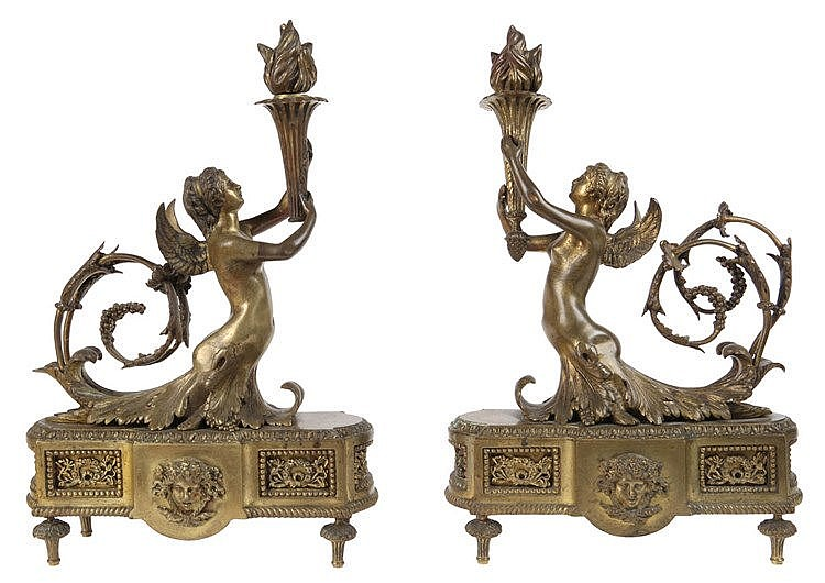Pair of firedogs with winged female figures carrying a torch. Olive-green patinated bronze. Louis XVI style. Napoleon III period.