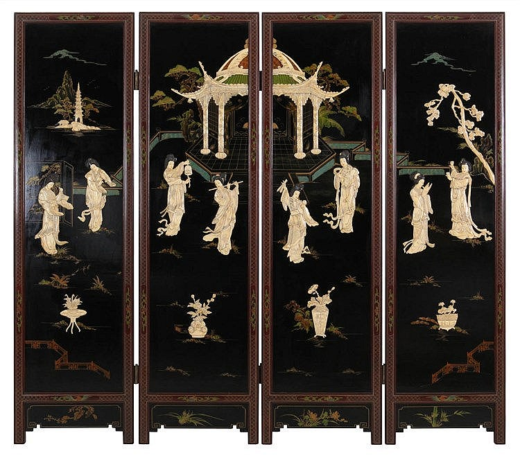Four-fold screen. Walnut. Set with four black lacquered panels applied with ivory figures in open air on a terrace in front of a pavillon. 20th century work.